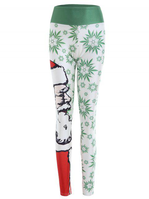 Snowflake and Santa Claus Print Fitted Leggings - WHITE 2XL