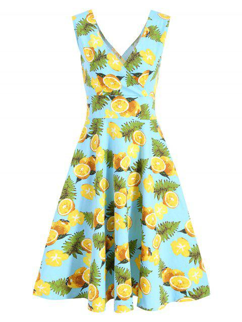 V Neck Lemon Print Semelle Robe Surplise - Bleu Léger 2XL
