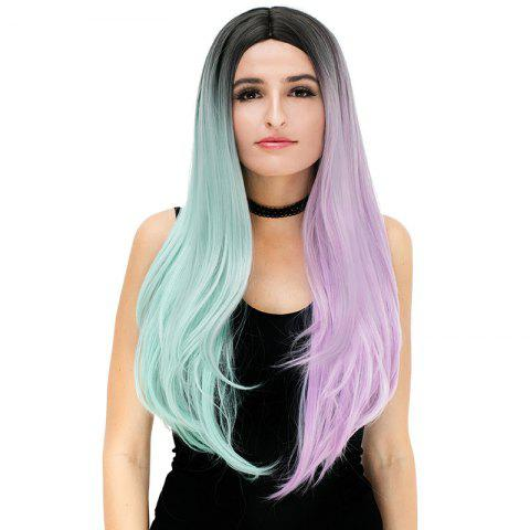 Long Middle Part Ombre Color Block Straight Party Synthetic Wig - COLORFUL