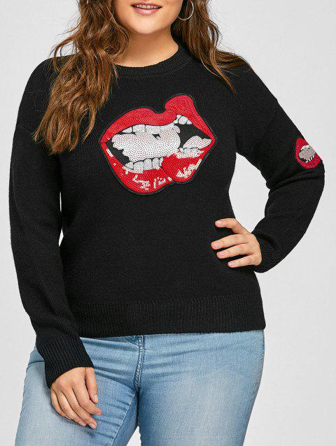 Plus Size Lip Sequin Drop Shoulder Sweater - BLACK 3XL