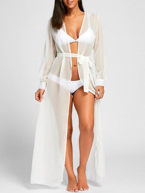 Flowy Maxi Cover Up Wrap Dress - WHITE M