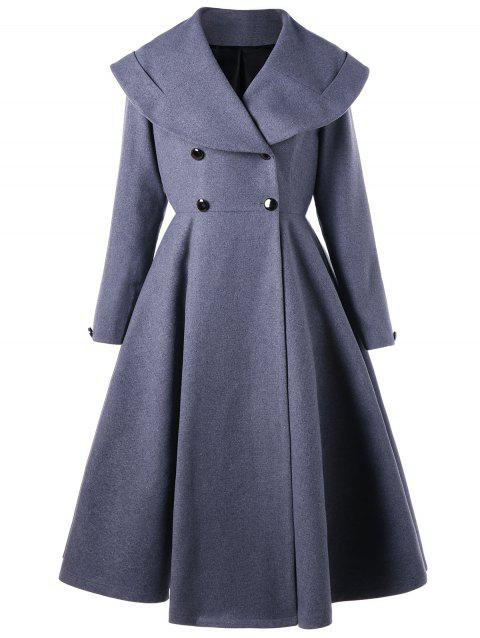 Double Breasted Fit and Flare Waterfall Coat - BLUE GRAY M