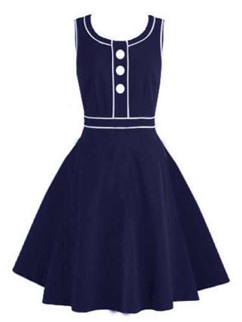 Vintage Buttoned Pinup Swing Dress - DEEP BLUE S