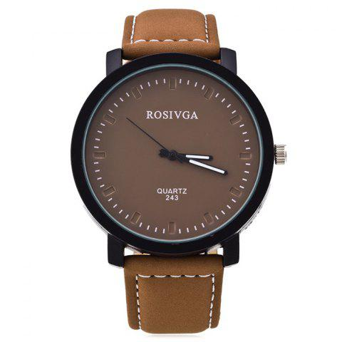 Faux Leather Strap Analog Round Watch - BROWN