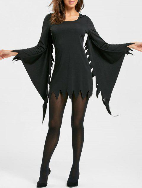 Halloween Serrated Edge Hooded Dress - BLACK XL