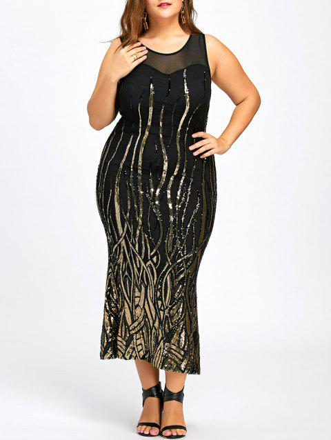 Sequin Plus Size Mesh Panel Party Dress - BLACK 2XL