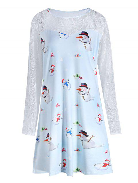 Plus Size Christmas Snowman Printed Lace Sleeve Dress - CLOUDY 2XL