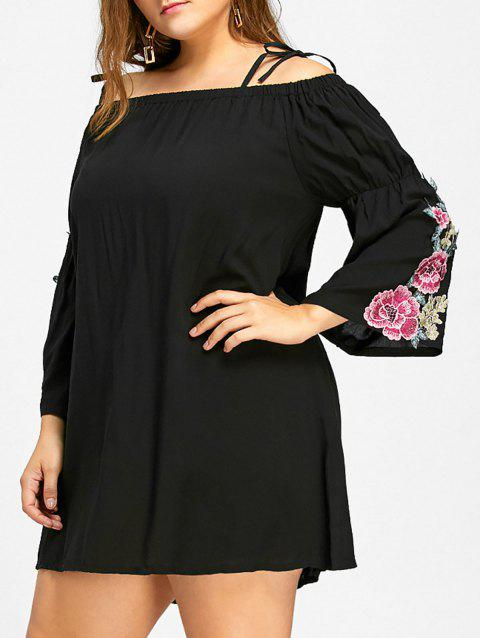 bc34c377e7d 17% OFF  2019 Floral Bell Sleeve Cold Shoulder Plus Size Dress In ...