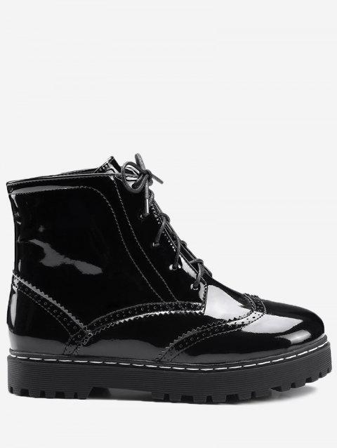 Wingtip Lace Up Ankle Boots - BLACK 36