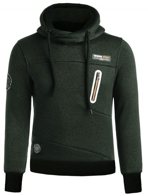 Zip Insert Patched Funnel Neck Hoodie - BLACKISH GREEN 3XL
