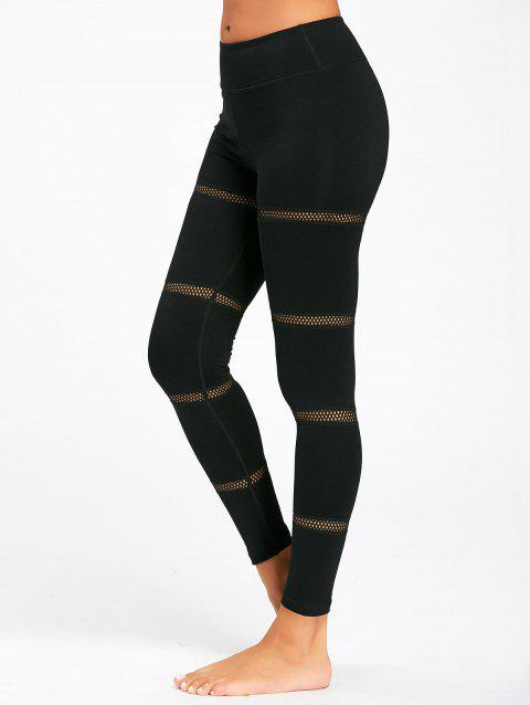 Openwork Mesh Panel Midi Waist Yoga Leggings - BLACK L