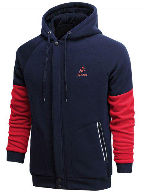 Cover Placket Color Block Fleece Hoodie - CADETBLUE 3XL