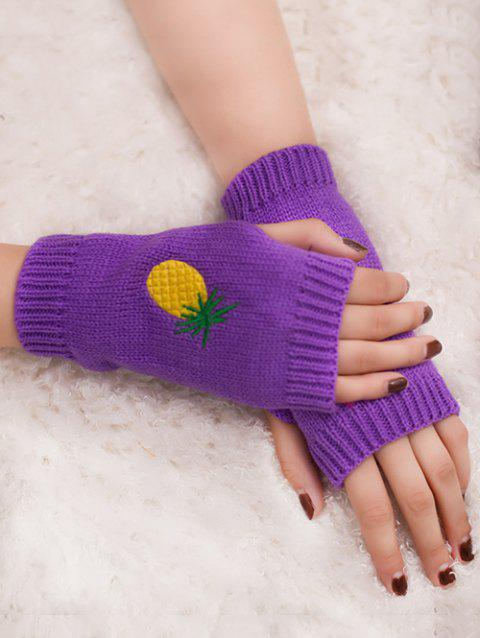 Halloween Funny Pineapple Embroidery Fingerless Knitted Gloves - PURPLE