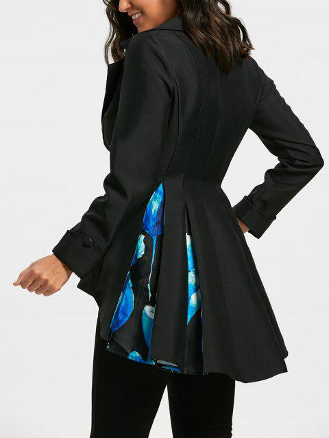 High Low Floral Print Skirted Blazer - BLACK S