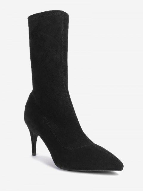 Stiletto Pointed Toe Mid Calf Boots - BLACK 37