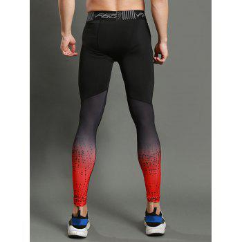 Dip Dye Stretch Dots Paint Skinny Athletic Pants - RED XL