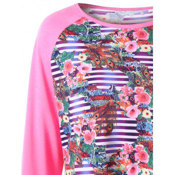 Plus Size Floral Raglan Sleeve T-shirt - ROSE RED 4XL