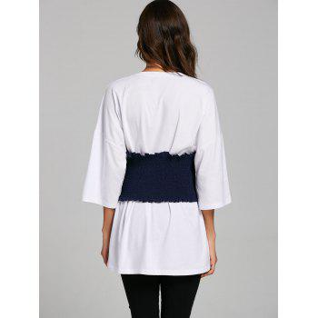 Corset Belt Drop Shoulder Tunic T-shirt - Blanc L