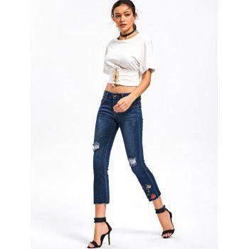 Distressed Embroidery Capri Jeans - S S