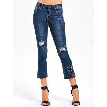 Distressed Embroidery Capri Jeans - BLUE BLUE
