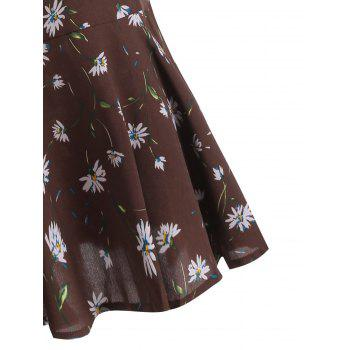 Plus Size Tiny Floral Long Sleeve Pussy Bow Dress - DEEP BROWN 5XL