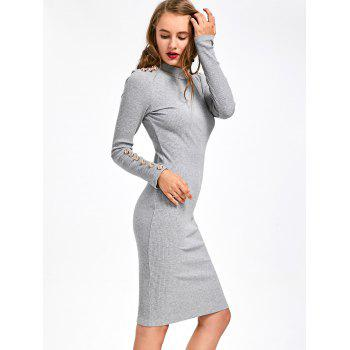 Bouton nervuré Embellished Long Sleeve Bodycon Dress - Gris L
