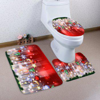 3Pcs Décoration de Noël Ensemble Tapis de toilette