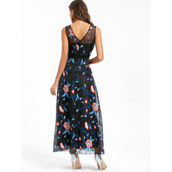 Floral Embroidered Maxi Party Evening Dress - BLACK BLACK