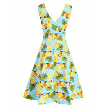 V Neck Lemon Print Semelle Robe Surplise - Bleu clair 2XL