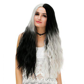 Long Middle Ombre Two Tone Natural Wavy Synthetic Party Wig - WHITE/BLACK