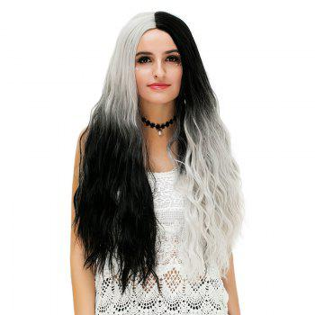Long Middle Ombre Two Tone Natural Wavy Synthetic Party Wig - WHITE AND BLACK WHITE/BLACK