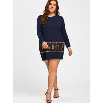 Plus Size Tribal Print Long Sleeve Baggy Dress - ROYAL ROYAL