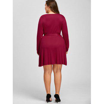 Long Sleeve Plus Size Belted Surplice Dress - RED 2XL