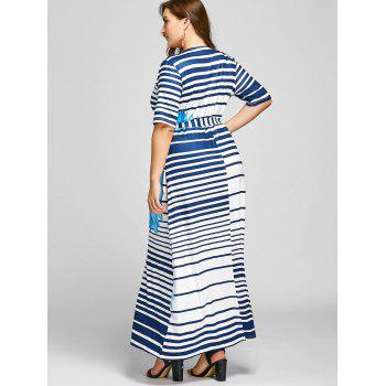 Plus Size Stripe Floral Maxi High Slit Dress - BLUE BLUE