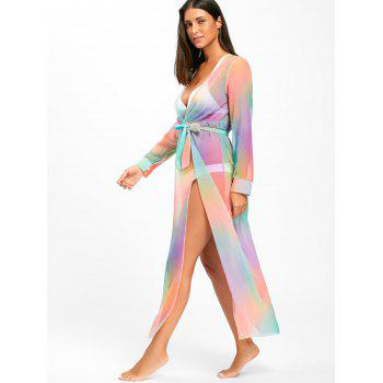 Rainbow Color Maxi Cover Up Dress - COLORMIX M