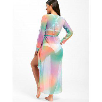Rainbow Color Maxi Cover Up Dress - COLORMIX L