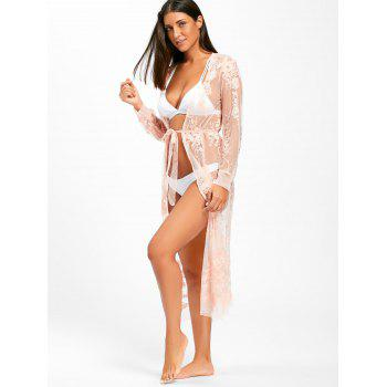 Lace Wrap Cover Up Dress - PINK M