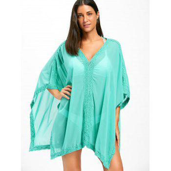 Batwing Sleeve Boho Cover Up Dress - LAKE GREEN ONE SIZE