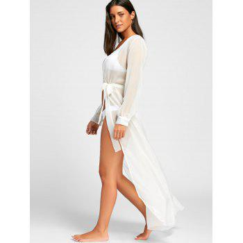 Flowy Maxi Cover Up Wrap Dress - Blanc S