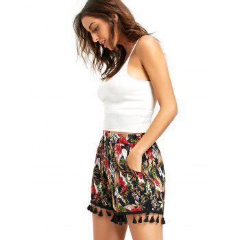 Tropical Floral Tassel Beach Shorts - COLORMIX S
