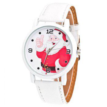 Christmas Santa Claus Face Number Watch - WHITE WHITE