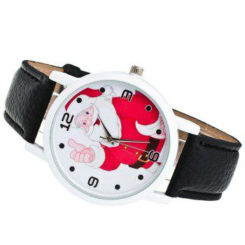 Christmas Santa Claus Face Number Watch - BLACK
