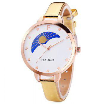 F Letter Faux Leather Analog Watch - GOLDEN GOLDEN