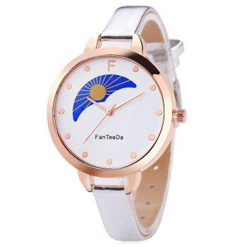 F Letter Faux Leather Analog Watch - SILVER SILVER