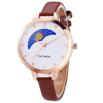 F Letter Faux Leather Analog Watch - BROWN BROWN