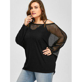 Plus Size Sheer Mesh Panel Batwing Sleeve Tee - BLACK XL