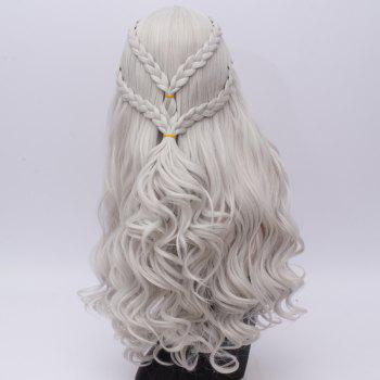 Perruque Cosplay Long Tresse Ondé Synthétique Game of Thrones Daenerys Targaryen - Argent