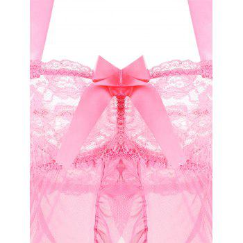 Mesh Split Babydoll with Ruffles - PINK ONE SIZE