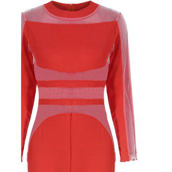 Mesh Panel See Thru Long Sleeve Jumpsuit - RED M