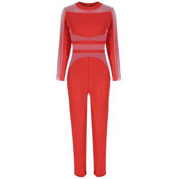 Mesh Panel See Thru Long Sleeve Jumpsuit - RED L